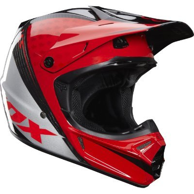 Fox Racing V3 CR Race Helmet [Red Carbon] S Red Carbon Small -
