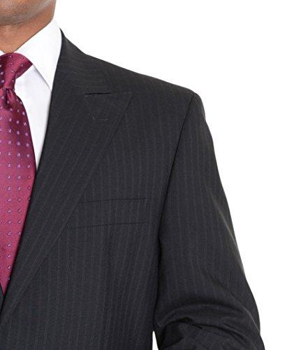 Super 120 Wool Suit (Rino Bresciani Classic Fit Black Striped Super 120's Wool Suit With Peak Lapels)