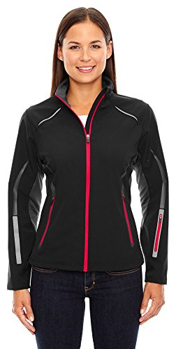 (North End Sport Ladies Pursuit Hybrid Soft Shell Jacket, XS, BLK/OLYM RED 461)