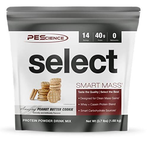 PEScience Select Smart Mass, Peanut Butter Cookie, 14 Servings, Clean Mass Gainer Powder