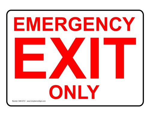 ComplianceSigns Plastic Exit Emergency / Fire Sign, 10 x 7 in. with English Text, White