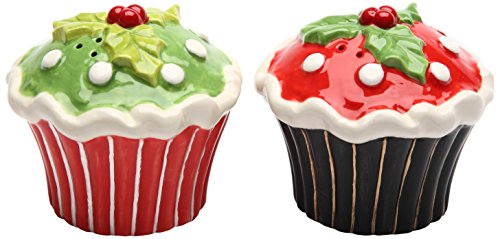 Cosmos 61829 Gifts Ceramic Seasonal Cupcake Salt and Pepper Set, 2-5/8-Inch