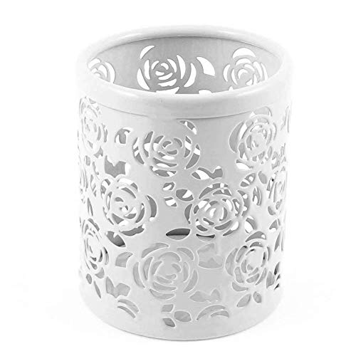 Ciaoed Pen holder Metal Pencil Pot Hollow Mesh Rose Flower Pattern Cylinder Container Organizer,White (Pattern Hollow Flower)