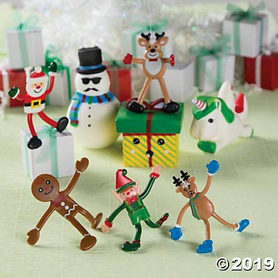 Fun Express Christmas Holiday Character Bendables (Set of 24 Toys) Santa, Elf, Reindeer and Snowman Characters: Toys & Games