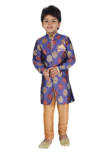 KLAUD ZEE Kids Indian Ethnic Bollywood Style Festive and Party Wear Sherwani and Breeches Set for Boys (7-8 Years, Purple) by KLAUD ZEE