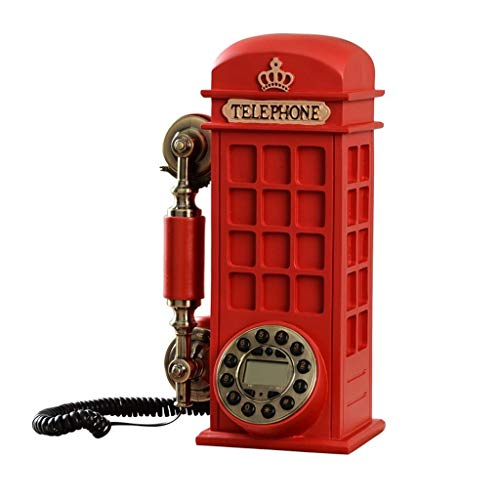 Vintage Resin Red Fixed Landline Coffee Shop Phone Booth Decoration Rotating Dial Phone