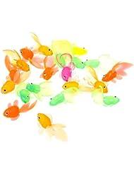 Forgun 20pcs Rubber Simulation Small Goldfish Gold Fish Kids Toy Decoration Bath Toy
