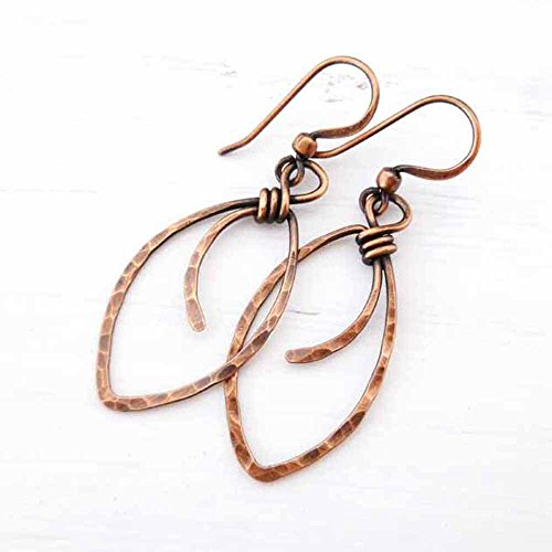 Handmade Wire Wrapped Earrings - Hammered Copper Earrings marquis-shape wire wrapped handmade