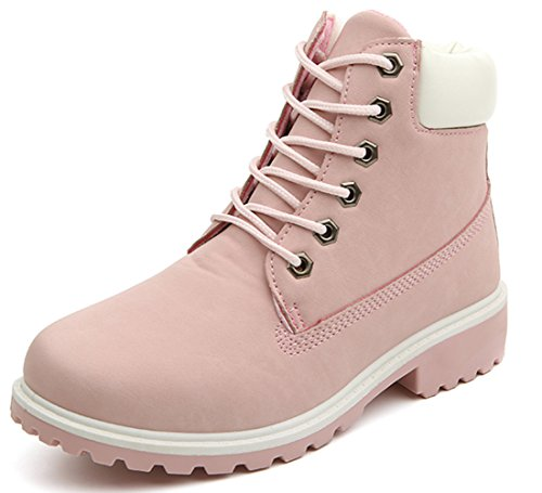 DADAWEN Women's Lace Up Low Heel Work Combat Boots Waterproof Ankle Bootie Pink US Size 9