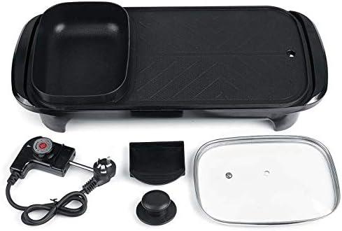 Barbecue électrique Portable 2 en 1 BBQ Hotpot 1300W Température Réglable Sans Fumée Facile à Nettoyer Convient pour 3-6 Personnes Pot.