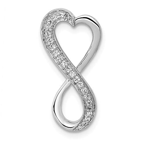 14K White Gold Diamond Freeform Heart Chain Slide Pendant Pendant, 14 kt White Gold