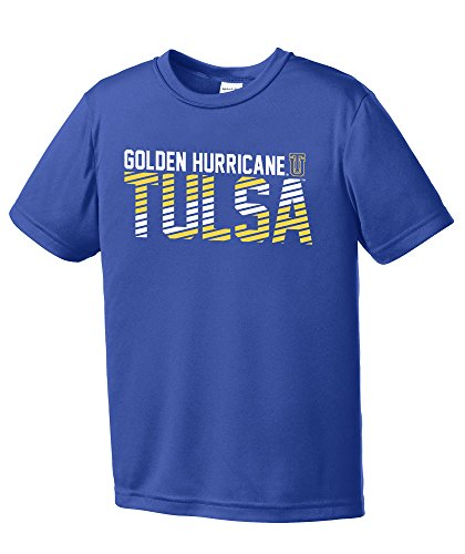 NCAA Tulsa Golden Hurricane Youth Boys Diagonal Short sleeve Polyester Competitor T-Shirt, Youth Large,Royal
