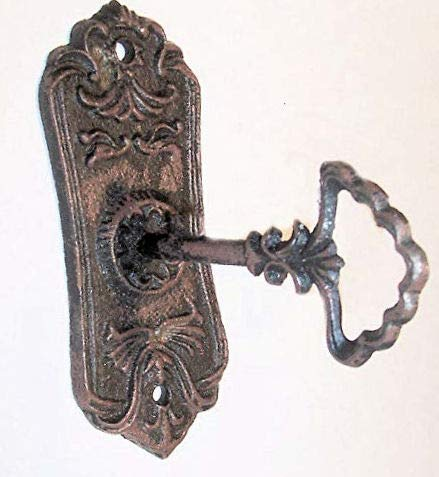 Plate Robe Hook - Heavy Cast Iron - Decorative Door Key Hook - with Colonial Rustic Design Plate - Add On Wall Decorations or Hook, Rustic Brown Finish Color, Old Vintage Design, 5 3/8 Inches Tall by 2 1/4 Inches Wide