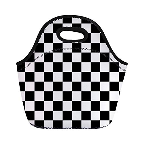 Semtomn Neoprene Lunch Tote Bag Flag Checkered Pattern Checker Race Checkerboard Vintage Abstract Auto Reusable Cooler Bags Insulated Thermal Picnic Handbag for Travel,School,Outdoors,Work