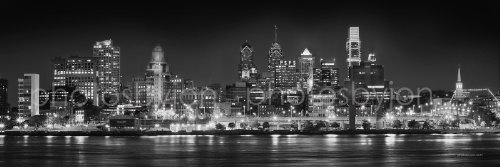Philadelphia Skyline PHOTO PRINT UNFRAMED NIGHT from East Black & White BW Philly City Downtown 11.75 inches x 36 inches Photographic Panorama Print Photo Picture Standard Size
