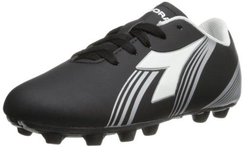 (Diadora Soccer Avanti MD JR Soccer Shoe (Toddler/Little Kid/Big Kid),Black/White/Silver,2 M US Little Kid)
