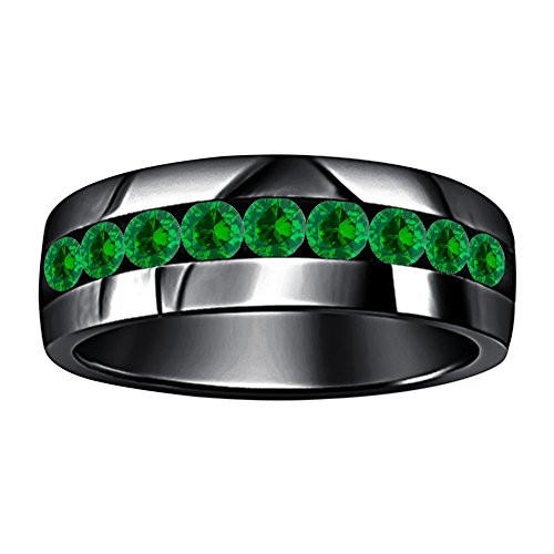 Awesome 14k Black Gold Plated Round Cut Created Green Emerald 9-Stone Men's Wedding Band Anniversary Ring -