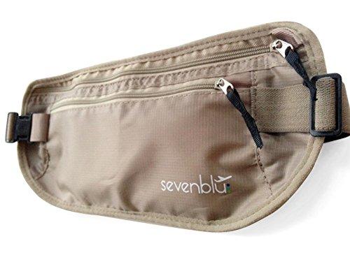 SevenBlu weicher RFID-Reisegeldgürtel zum Schutz vor Diebstahl, unter der Kleidung zu tragen, schützt Bargeld und Ausweise, für Damen und Herren
