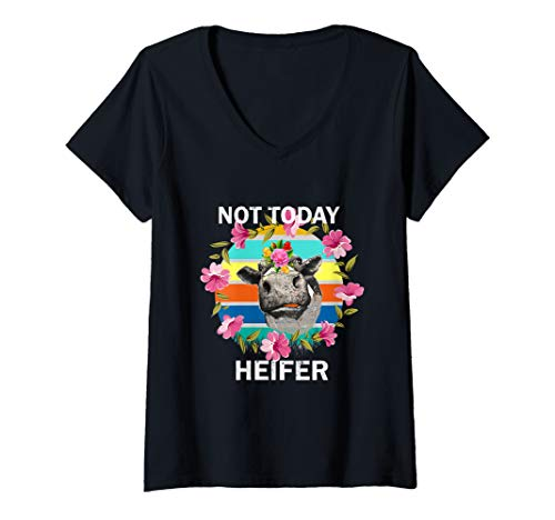 Womens Not Today Heifer Cows Vintage Gift Funny  T-Shirt  V-Neck T-Shirt]()