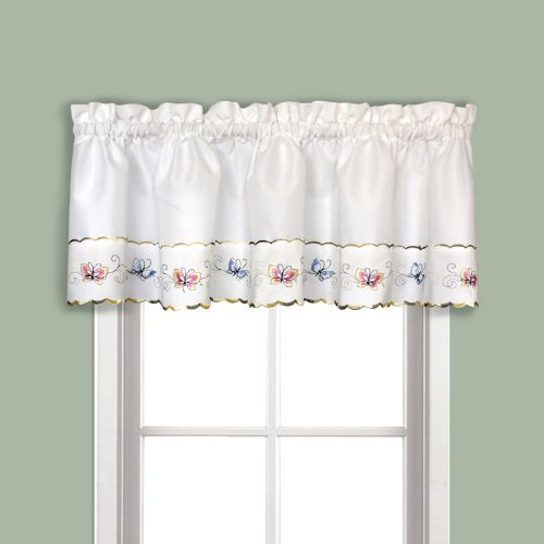 United Curtain Butterfly Embroidered Valance, 52″ x 14″, Multi