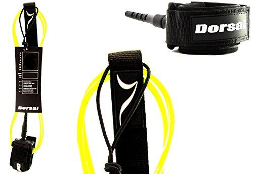 Dorsal Premium ProComp Surfboard Lightweight, Kink-free, Surf Leash - Yellow 6 FT