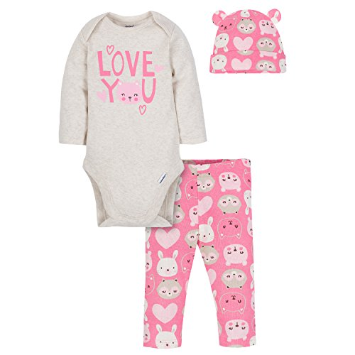 Gerber Baby Girls' 3-Piece Bodysuit, Pant and Cap Set, Love, 6-9 Months