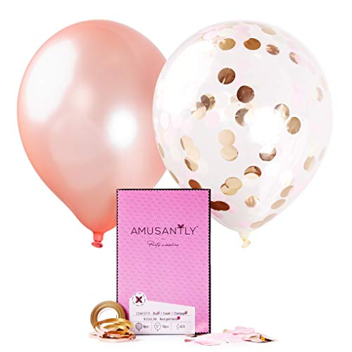 AMUSANTLY 18pcs White, Pink and Gold Confetti Balloons & Rose Gold Balloons 12-Inch | Elegant Pack of Blush Glitter Balloons with Confetti Inside | Baby Shower Birthday Bachelorette Party Decorations ()