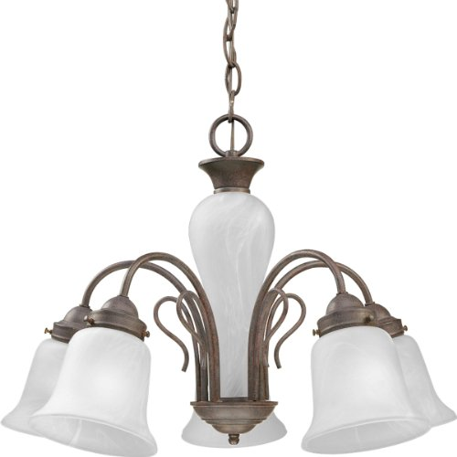 Progress Lighting P4391-33 5-Light Chandelier with Etched Alabaster Glass Shades and Center Column, Cobblestone