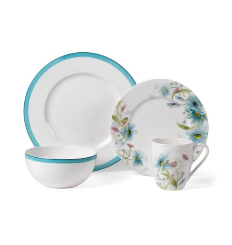 Mikasa Cadence Bloom Teal 4 Piece Place Setting