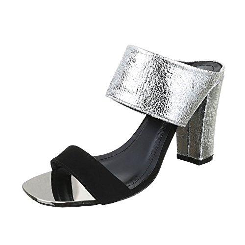Ital-Design - Sandalias de vestir de Material Sintético para mujer negro/plateado