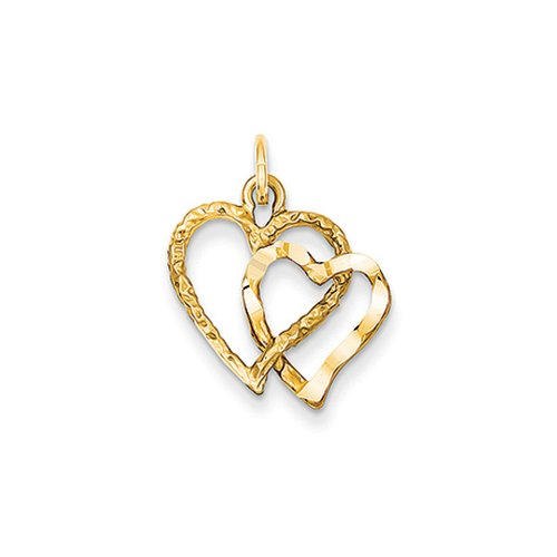 Double Bow Necklace (14k Yellow Gold Double Textured Heart Charm)
