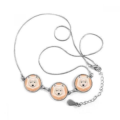 White Samoyed Dog Pet Animal Round Shape Pendant Necklace Jewelry With Chain Decoration Gift - Samoyed Jewelry