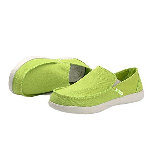 Mocasines Verde Perezosos Transpirable Verano Cómodos Hombres Casuales Pisos Moda Zapatos Lona wWgxvnqRYO