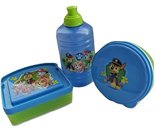 Paw Patrol-Blue & Green BPA Free 1 Plastic Water Jug Bottle(16 oz Pull-top), 1 Sandwich Box, 1 Snack Container by Zak Designs Bundle Set