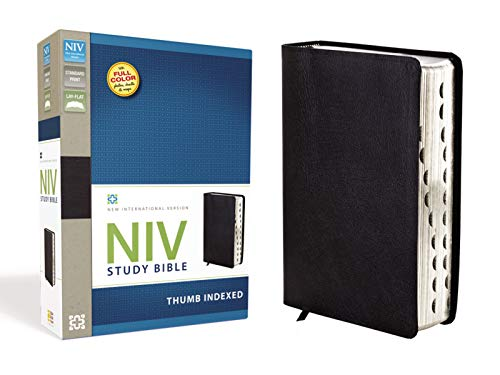 NIV Study Bible, Top-Grain Leather, Black, Indexed, Red Letter Edition