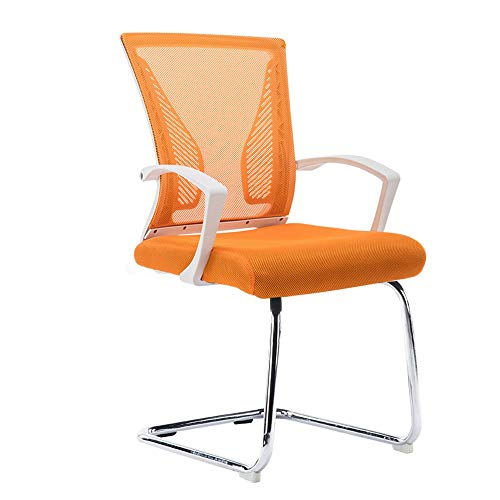 Chairs MEIDUO Stool Reception Guest with Arms – Comfortable Mesh, Ergonomic Contour, – Modern Convertible Furniture for Visitors, Meeting Groups (Color : White Frame Orange) -