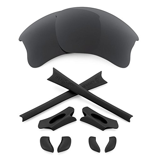 Revant Replacement Lenses + MaxGrip Rubber Kit for Oakley Flak Jacket XLJ - Stealth - Flak Lenses Xlj G30 Jacket