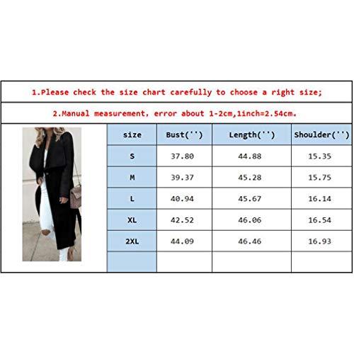 Noir Section Femmes Longue Hiver Veste Longues Revers Cardigan Manches Manteau Automne 6v7wvF