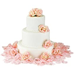 Pink Silk Rose Cake Flowers - Reception Decoration