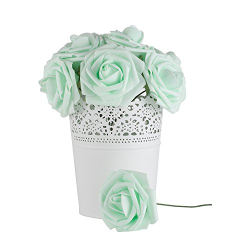 Dinopure Wedding Bouquet 50pcs Artificial Flowers White Real Touch Artificial Roses for Bouquets Centerpieces Wedding Party Baby Shower DIY Decorations (light green)