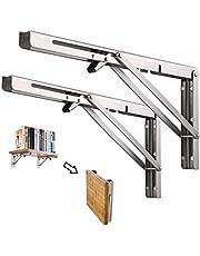 DMSL 8 inch / 200 mm opklapbare console zware klaptafel van roestvrij staal, ruimtebesparend, opklapbaar legbord, maximaal draagvermogen 50 kg, [2-PACK]