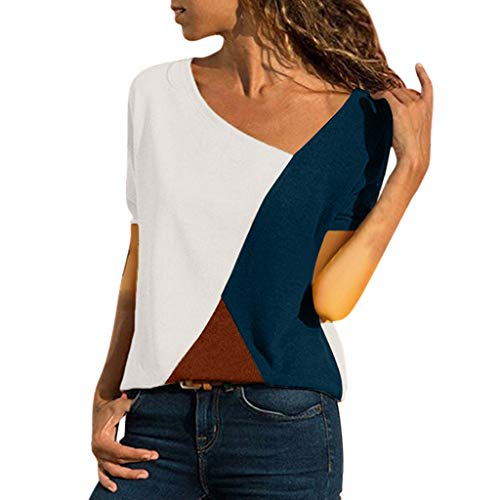 Hunauoo Sale Summer Sexy Color Patchwork Short Sleeved