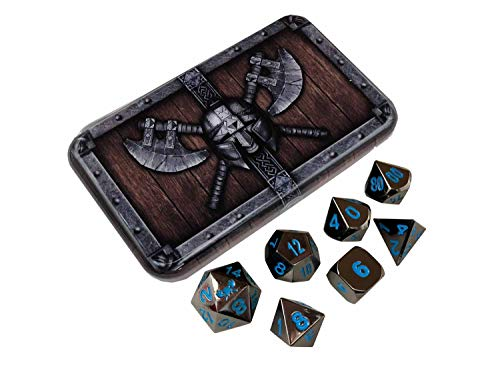 Skull Splitter Dice ICY Doom Metal Dice - Shiny Black Nickel with Blue Numbers | Solid Metal Polyhedral Role Playing Game (RPG) Dice Set (7 Die in Pack) with Awesome Dwarven Chest Dice Case ()