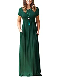 Women's Short Sleeve Loose Plain Maxi Dresses Casual Long...
