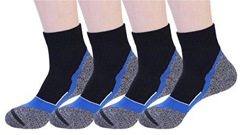 4 Pair Men's Coolmax Sporting Running Biking Crew Socks-black-blueL/XL
