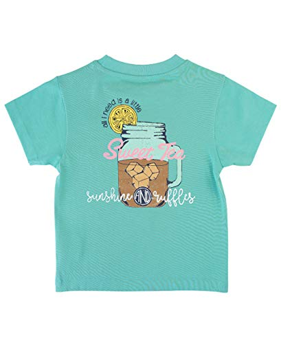 RuffleButts Little Girls Sweet Tea Southern Tee - 2T/3T Blue Lagoon