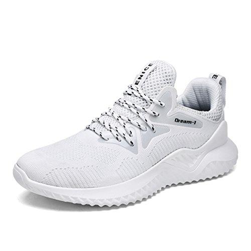 UBFEN Hommes Chaussures de Sport Multisports Outdoor Trail Chaussure Running Course Baskets Casual Entraînement Fitness Randonnée Sneakers A Blanc DiBOZuY