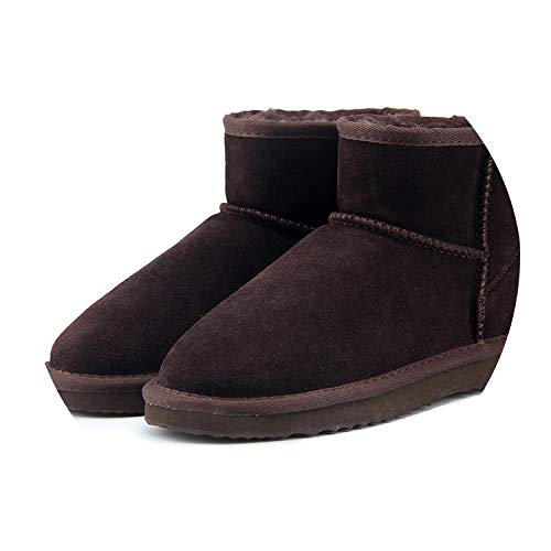 (Winter Women's Snow Boots Cow Split Leather Ankle Shoes Woman Botas Mujer Big Us 3-13,Chocolate,3)