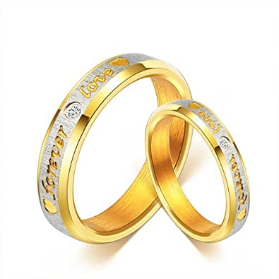 Yutti 18K Gold Plated Titanium Steel Proposal Couple Rings Size 7