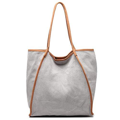 Shopping Tote Bag for Women Extra Large Capacity Work Shouler Travel Bag Genuine Leather & Canvas Handbag Grey ()